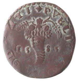 reverse: Napoli. Filippo II. 1554-1598. Tornese 1585. Ae.