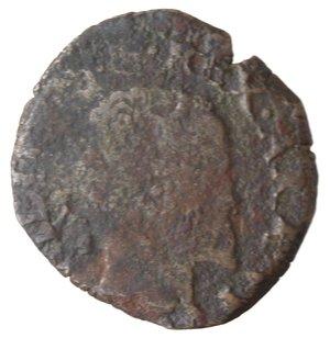 obverse: Napoli. Filippo II. 1554-1598. Da tre Cavalli Sd. Sigla IAF dietro la testa. AE.