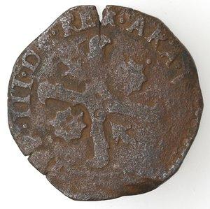 obverse: Napoli. Filippo III. 1598-1621. Tornese 1599 con bastoni incrociati. Ae.