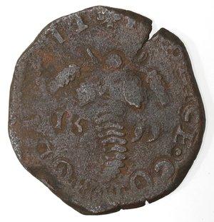 reverse: Napoli. Filippo III. 1598-1621. Tornese 1599 con bastoni incrociati. Ae.