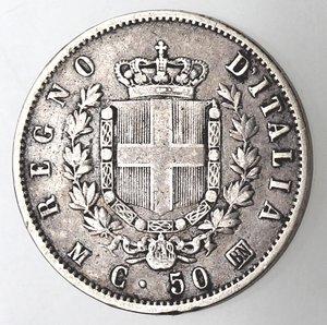 R/ Casa Savoia. Vittorio Emanuele II. 1861-1878. 50 centesimi 1863 Stemma Milano. Ag. Gig. 74. qBB. R.