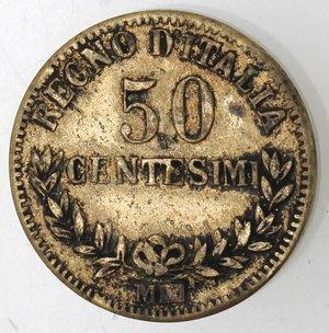 R/ Casa Savoia. Vittorio Emanuele II. 1861-1878. 50 centesimi 1863 Valore  Milano. M Argentato. Gig. 76. qBB. Falso d'epoca.