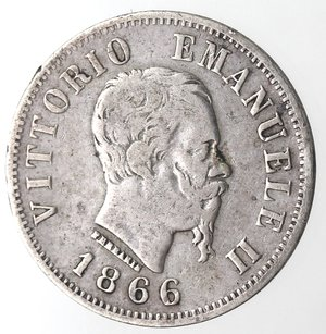 D/ Casa Savoia. Vittorio Emanuele II. 1861-1878. 50 centesimi 1866 Valore  Milano. Ag. Gig. 79. qBB. R
