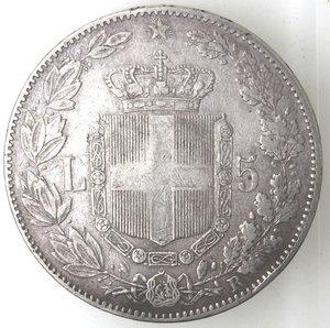 R/ Casa Savoia. Umberto I. 1878-1900.5 lire 1879. Ag. Gig 24. SPL+.