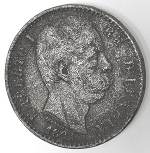 D/ Casa Savoia. Umberto I. 1878-1900. 2 Lire 1883. MB. Gig. 27. MB. Falso d'epoca.