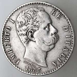 D/ Casa Savoia. Umberto I.1878-1900.2 lire 1885. Ag.Gig 29. BB.R.