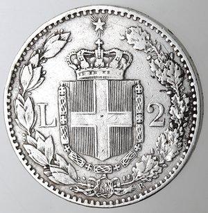 R/ Casa Savoia. Umberto I.1878-1900.2 lire 1885. Ag.Gig 29. BB.R.