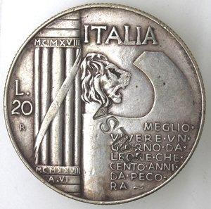 R/ Casa Savoia. Vittorio Emanuele III. 1900-1943. 20 lire 1928 Anno VI. Cappellone. MB. Gig. 37. Peso gr. 15,27. qSPL. Falso d'epoca. NC.