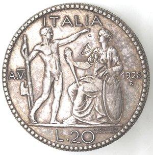 R/ Casa Savoia. Vittorio Emanuele III. 1900-1943. 20 lire 1928 Anno VI. Littore. MB. Gig. 44. Peso gr. 19,34. BB+. Falso d'epoca. NC.