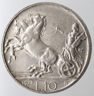 R/ Casa Savoia. Vittorio Emanuele III. 1900-1943. 10 lire 1927 Biga una rosetta. Ag. Gig. 56. FDC. NC.