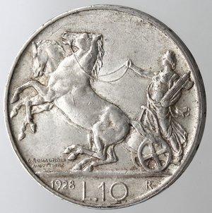 R/ Casa Savoia.Vittorio Emanuele III.1900-1943.10 lire 1928 Biga. Una rosetta.Ag.Gig. 57.BB+. NC.