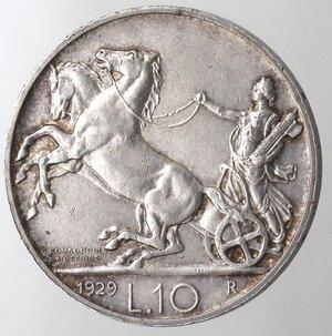 R/ Casa Savoia.Vittorio Emanuele III.1900-1943.10 lire 1929 Biga. Due rosette.Ag.Gig. 58a.qSPL. NC.