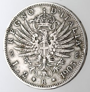 R/ Casa Savoia. Vittorio Emanuele III. 1900-1943. 2 lire 1905 Aquila Sabauda. Ag. Gig. 93. qBB. Colpetto al bordo.