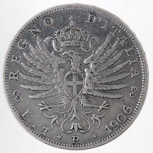 R/ Casa Savoia. Vittorio Emanuele III.1900-1943.Lira 1906 Aquila Sabauda. Ag. Gig. 130.BB.