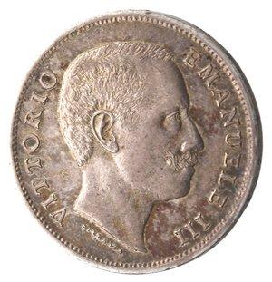D/ Casa Savoia. Vittorio Emanuele III. 1900-1943. Lira 1907 Aquila Sabauda. Ag. Gig. 131. SPL+. Bella patina iridescente.