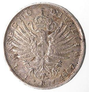 R/ Casa Savoia. Vittorio Emanuele III. 1900-1943. Lira 1907 Aquila Sabauda. Ag. Gig. 131. SPL+. Bella patina iridescente.