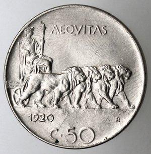 R/ Casa Savoia. Vittorio Emanuele III. 1900-1943.50 centesimi 1920 Leone. Bordo liscio. Ni. Gig. 164.SPL+.
