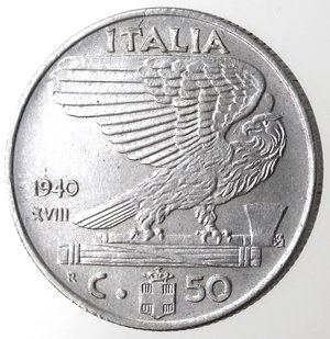 R/ Casa Savoia. Vittorio Emanuele III. 1900-1943.50 centesimi 1940 anno XVIII Impero. Magnetica. Ac. Gig. 185a. SPL.