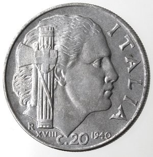 R/ Casa Savoia. Vittorio Emanuele III. 1900-1943.20 Centesimi 1940 Impero. Anno XVIII Magnetica. Ac. Gig. 220a.SPL+.