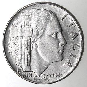 R/ Casa Savoia. Vittorio Emanuele III. 1900-1943.20 Centesimi 1941 Impero. Anno XVIII Magnetica. Ac. Gig. 221. qFDC.