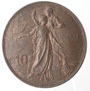 R/ Casa Savoia. Vittorio Emanuele III. 1900-1946.10 Centesimi 1911 Cinquantenario. Ae. Gig. 227. qFDC.