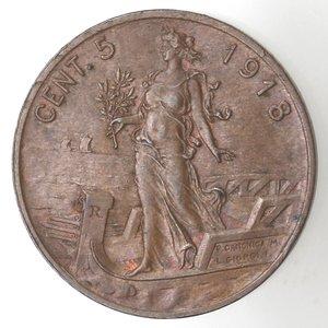 R/ Casa Savoia. Vittorio Emanuele III. 1900-1943.5 Centesimi 1918 Italia su prora. Ae. Gig. 262. qSPL. R.