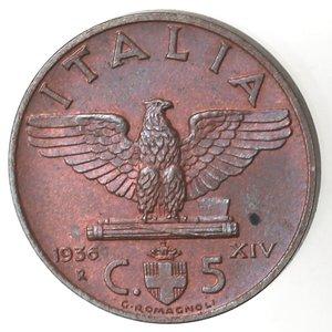 R/ Casa Savoia. Vittorio Emanuele III. 1900-1943. 5 centesimi 1936 Anno XIV Impero. Ae. Gig. 284. FDC. Rame rosso. NC.