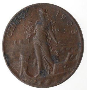 R/ Casa Savoia. Vittorio Emanuele III.1900-1943.2 Centesimi 1908 Donna su prora. Ae. Gig 298.BB. RR.