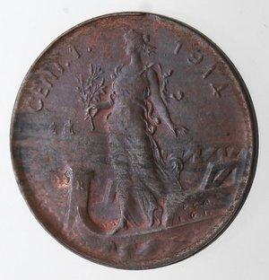 R/ Casa Savoia. Vittorio Emanuele III. 1900-1943.Centesimo 1914 Italia su prora. Ae. Gig. 318.SPL+.Rame rosso.