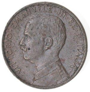 D/ Casa Savoia. Vittorio Emanuele III. 1900-1943.Centesimo 1918 Italia su prora. Ae. Gig. 322.SPL.NC.