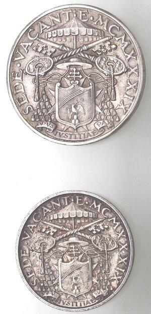 obverse: Vaticano. Roma. Sede Vacante 1939. Lotto del 10 liree 5 Lire 1939. Ag.