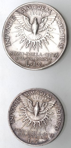 reverse: Vaticano. Roma. Sede Vacante 1939. Lotto del 10 liree 5 Lire 1939. Ag.