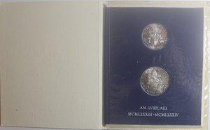 obverse: Vaticano. Giovanni Paolo II. 1978-2005. 1000 e 500 Lire 1983-1984 Giubileo. Ag.
