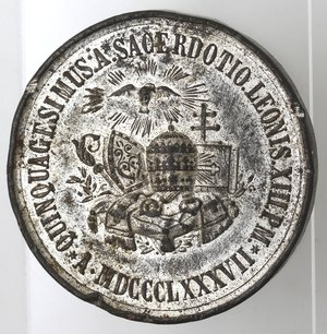 D/ Medaglie. Roma. Leone XIII. 1878-1903. Medaglia Straordinaria 1887. 50 anno di sacerdozio. Metallo argentato. Diametro 40 mm. MB. Colpetti.