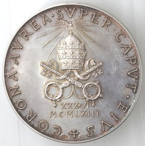 R/ Medaglie. Roma. Paolo VI. 1963-1978.Giovanni Battista Montini. Medaglia annuale, A. I. Ag. Diametro mm. 44.qFDC. RR.