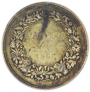 R/ Medaglie. Torino. Medaglia 1907. Ag. D/ SOCIETA' ORTO AGRICOLA DEL PIEMONTE TORINO. R/ A Panetto Luigi 1907. Peso gr. 13,77. Diametro mm. 30. SPL+.