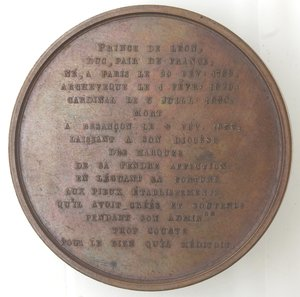 R/ Medaglie. Francia. Aug. De Rohan Chabot Cardinale Arcivescovo di Besancon. Medaglia 1836. Ae. Diametro mm. 54,00. SPL/FDC. Colpetti al bordo.