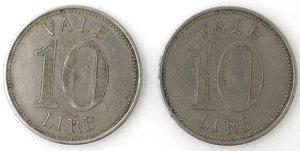 R/ Medaglie. Lotto di 2 gettoni da 10 Lire. S. A. Coop. Fra Addetti Stabilimento di Dalmine. Inizio XX Sec. MB. Mediamente BB.