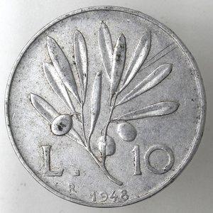 reverse: Repubblica Italiana. 10 lire 1948 Ulivo. It.