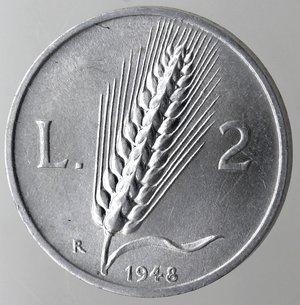 reverse: Repubblica Italiana. 2 lire 1948 Spiga. It. Gig 326. qFDC. Perizia Marco Esposito.