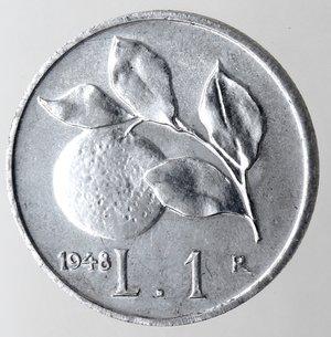 reverse: Repubblica Italiana. 1 lira 1948 Arancia. It. Gig 363. qFDC. Perizia Marco Esposito.