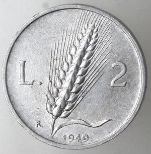 reverse: Repubblica Italiana. 2 lire 1949 Spiga. It. Gig 327. qFDC. Perizia Marco Esposito. NC.