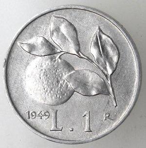 reverse: Repubblica Italiana. 1 lira 1949 Arancia. It. Gig 364. qFDC. Perizia Marco Esposito.