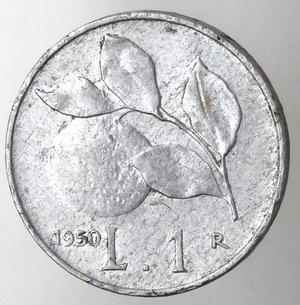 reverse: Repubblica Italiana.1 Lire 1950 Arancio. It. Gig 365.FDC.