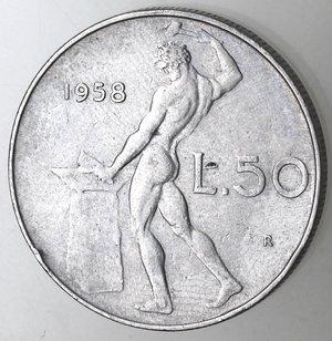 reverse: Repubblica Italiana.50 Lire 1958. Gig. 147.BB.