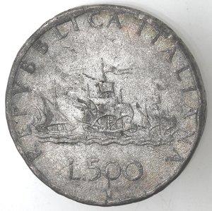 reverse: Repubblica Italiana. 500 Lire Caravelle. Falso d epoca.
