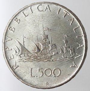 reverse: Repubblica Italiana. 500 lire Caravelle 1961. Ag.