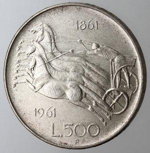 reverse: Repubblica Italiana. 500 Lire 1961 Unità d Italia. Ag.