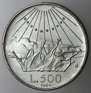 reverse: Repubblica Italiana. 500 Lire 1965 Dante. Ag.