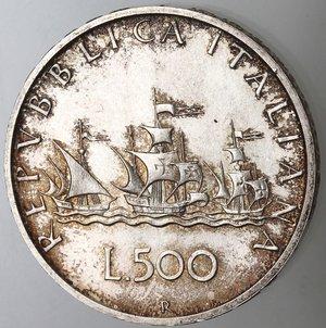 reverse: Repubblica Italiana. 500 Lire 1966. Ag.